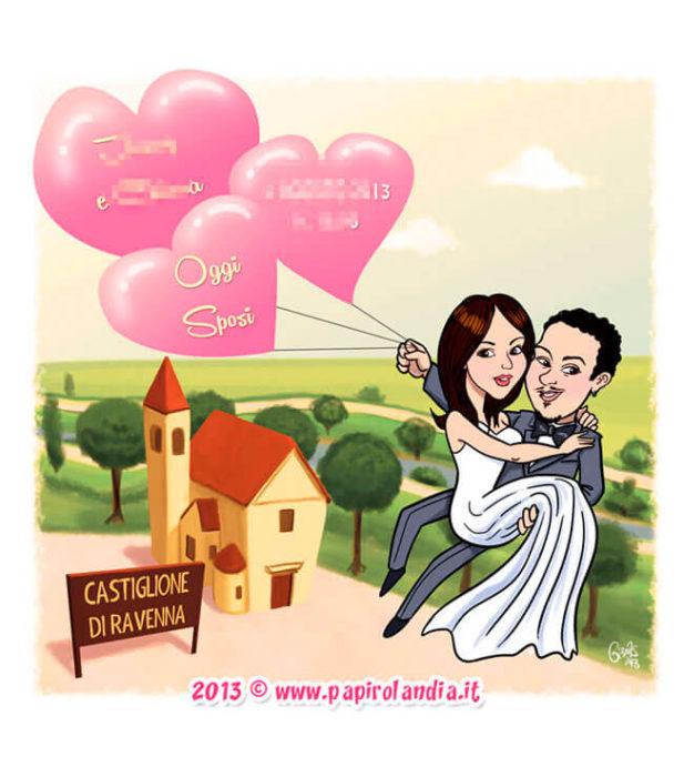 Illustrazione simpatica per inviti di matrimonio